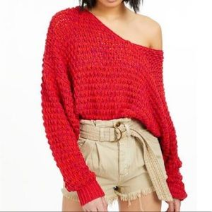 FREE PEOPLE Coconut Loose-Weave V-Neck Sweater